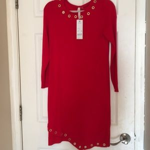 NWT beautiful red dress with detailed neckline PM